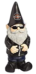 """Harley-Davidson Biker Garden Gnome Constructed from painted polystone Decked out in your favorite leathers and ready to ride Garden Gnomes are believed to bring good luck to your garden Size: 4.5"""" W x 3.5"""" D x 11"""" H"""