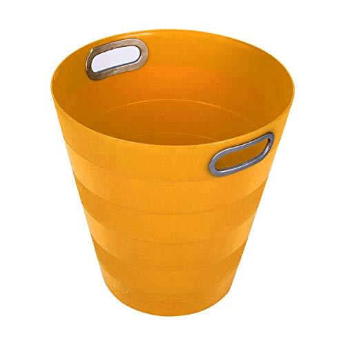 Milanino Classic Papierkorb – Einfarbiger Kunststoff Abfalleimer für Büro, Badezimmer, Wohnzimmer und Mehr - 12,5L Fassungsvermögen (Gelb)