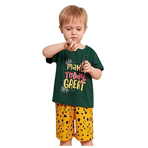 YWLINK Camiseta De Manga Corta con Letras Coreanas Tops para NiñOs Y NiñAs + Conjunto De Pijamas para El Hogar Conjuntos De Moda Suelto Y CóModo Lindo Bautizo Ropa De Bebe Regalo De CumpleañOs