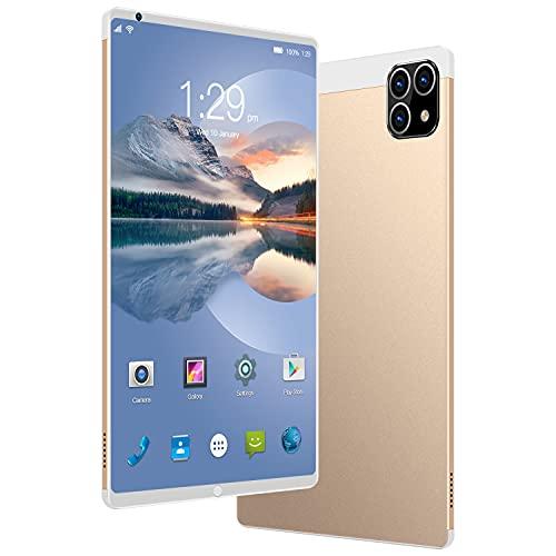 Tableta con Pantalla táctil Android 10, Tableta de 8.1 Pulgadas con Marco Cuadrado, Relación de resolución Full HD 1920 × 1280 12 Core, Cámara de 16MP + 32MP, Dual SIM WiFi, 7800mAh, GPS,Oro