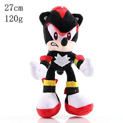 HHtoy Shadow The Hedgehog Figura de la Felpa Juguetes Sonic The Hedgehog Animales Figura Suave Relleno Animado muñeca Almohada Regalo de los niños de Navidad de cumpleaños (tamaño : 27cm)