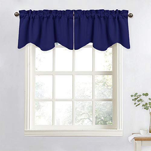 NICETOWN Valance Curtains for Kitchen - Modern Design 52 inches x 18 inches Scalloped Valance Drapes, Matching with Curtain Panels for Small Window/Coffee Shop (Navy Blue, Sold as 2 Panels)