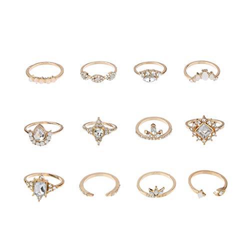 Juego de 12 anillos de plata bohemios para mujer, estilo vintage, sobre los nudillos, color azul, anillos de hija, regalo de cumpleaños (oro)