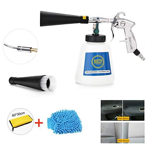 EXLECO Auto Reinigungspistole Innenreiniger Waschpistole Druckluft Drucklutfpistole Automatische Polierte Nickel-Metall Beschichtung Griff mit Luft Strömungs-Regelventil für Auto