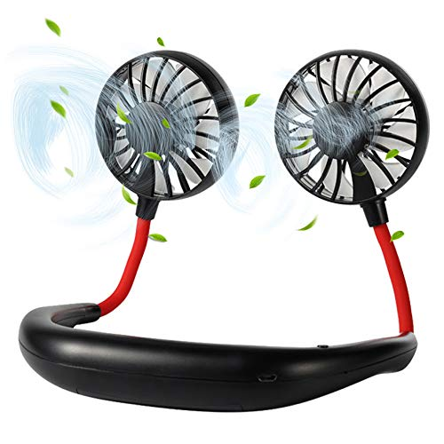 Neck Fan - FecPecu Personal Fans 2020 New 2000mah Rechargeable USB Hand Free Fans 360 Degrees Free Rotation & 3 Speed Adjustable, With Neck Pad for Aromatherapy, Outdoor, Office, Travel (Black)