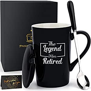 """BLACK RETIREMENT GIFTS MUG - High quality, lead-free black ceramic humor retirement gifts mug. The Black Coffee mug, """"The Legend Has Retired"""". Retirement coffee mug perfect for your coffee, tea and hot chocolate or wine. With classic shape black, dur..."""