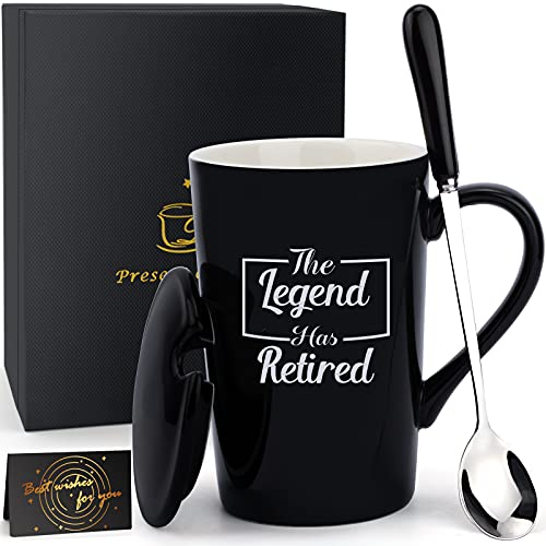 Retirement Gifts for Women Men -The Legend Has Retired Black Coffee...