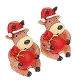 STOBOK 2 Piezas de Estatuilla de Casa de Muñecas de Navidad Adornos en Miniatura Mini Figuras de Navidad Jardín de Hadas de Invierno con Nieve Figuras de Reno para Navidad
