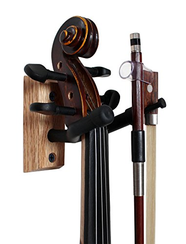Vizcaya Hardwood Home & Studio Wall Mount Violin Hanger with Bow Holder(VLH30)