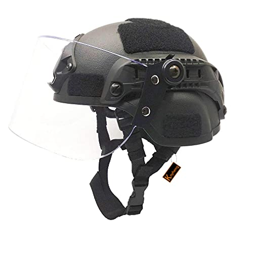 Kayheng Airsoft MICH 2000 ACH Tactical Helmet with Clear Visor NVG Mount and Side Rail
