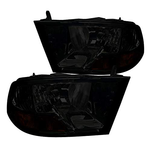 Spec-D Tuning Euro Smoke Headlights for 2009-2018 Dodge RAM 1500 2500 3500 Head Light Assembly Left + Right Pair