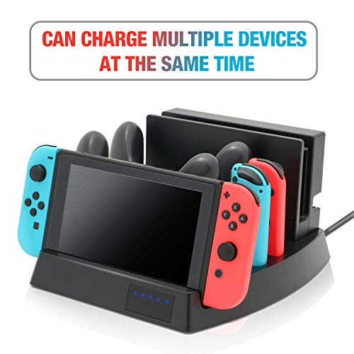 2019 Controller Charger for Nintendo Switch, Fast Charger Dock for Nintendo Switch, Charge 2 Nintendo Switch, 2 Joy-cons, 2 Pro Controllers, Storage Stand for Switch Dock with 1 USB C Cable,1 DC Cable