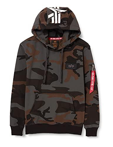 ALPHA INDUSTRIES Herren Back Print Hoody Sweatshirt, Black Camo, XL