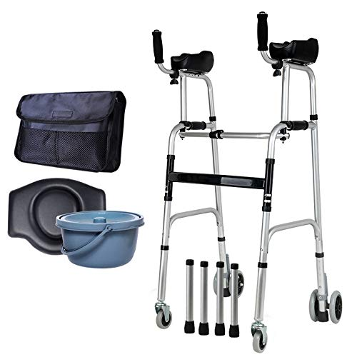ZHHB Ältere Menschen Faltbare Walker, Assist Adjustable Gehen Räder Mit Armlehne Pad Für Armstütze Four-Legged Walker Beintrainings Gehhilfen Ausgerüstet