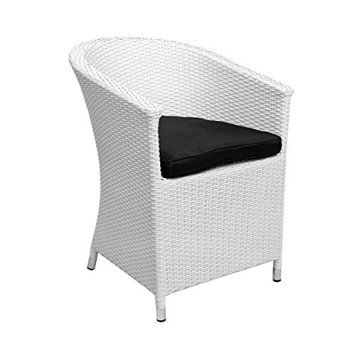 Butlers In & Out Rattansessel 57x65,5x80 cm in Weiß - Lounge Sessel aus Kunstrattan mit Sitzkissen - Balkonsessel