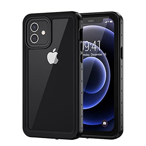 Lanhiem Cover iPhone 12 PRO Max(6.7') Impermeabile 5G[IP68 Certificato Waterproof] Custodia con Protezione dello Schermo Antiurto Antipolvere AntiGraffio Subacquea Caso per iPhone 12 PRO Max,Nero