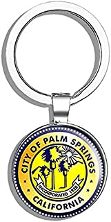 HJ Media Round City of Palm Springs Seal California (ca Golf) Metal Round Metal Key Chain Keychain Ring