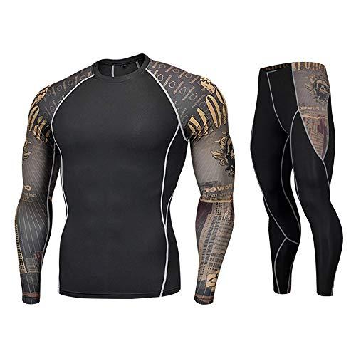 ZZBO Sportbekleidung Set Gym Fitness Bekleidung für männer Kompressionsshirt Kompressionshose Leggings Lang Trainingsanzug Atmungsaktiv Quick Dry...