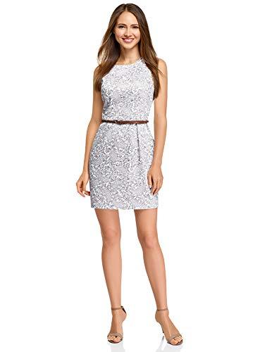 oodji Ultra Damen Tailliertes Ärmelloses Kleid, Weiß, DE 36 / EU 38 / S