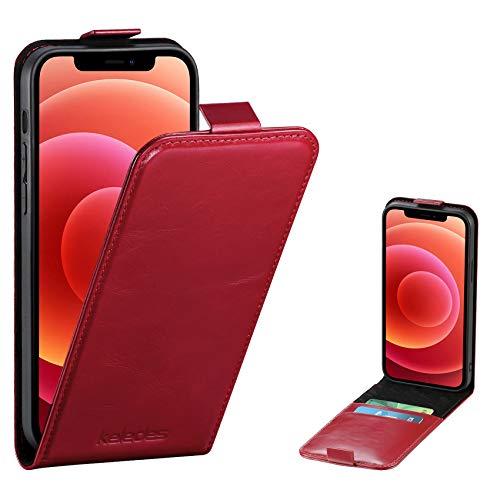 keledes Funda Compatible con iPhone 12 Mini 5.4', Funda Cuero Piel Genuino con Ranura para Tarjeta Bloqueo RFID,Magnético Carcasa Libro Flip Case Cover para iPhone 12 Mini 5G, Rojo