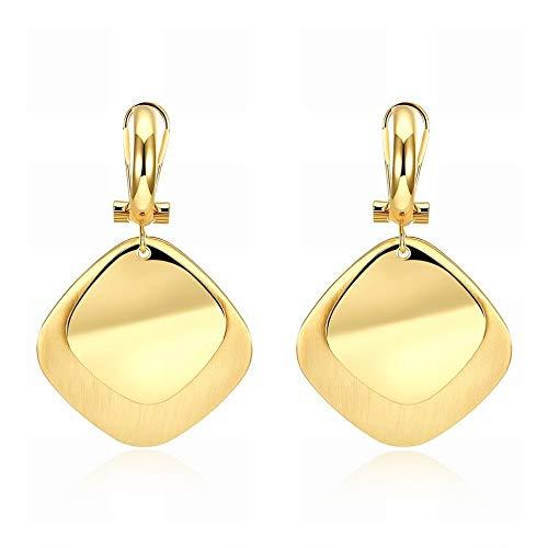 Een paar zirkonia-oorbellen van K-goud vierkante romantische damesoorbellen geelgoud oorringen klein en delicaat onovertroffen Verführerisch Als te laten zien.