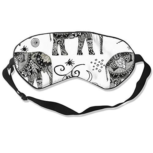 Geen druk Verstelbaar Oogmasker, Comfortabele Lichtgewicht Zijde Slaap Masker, Blinddoek Oogdeksel voor Slapen Shift Werk Naps Reizen Oogschaduw (Boheemse Olifant Boho Wit)