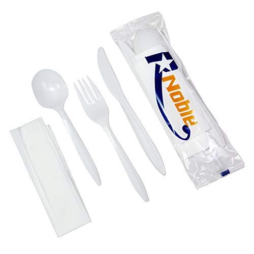 R Noble 160 Kunststoff Silbergeschirr Set mit Servietten, einzeln verpackt, Einweggeschirr Set, Besteckset, mittelschwer, 160 Servietten, 160 Plastikgabeln, 160 Kunststofflöffel, 160 Kunststoffmesser