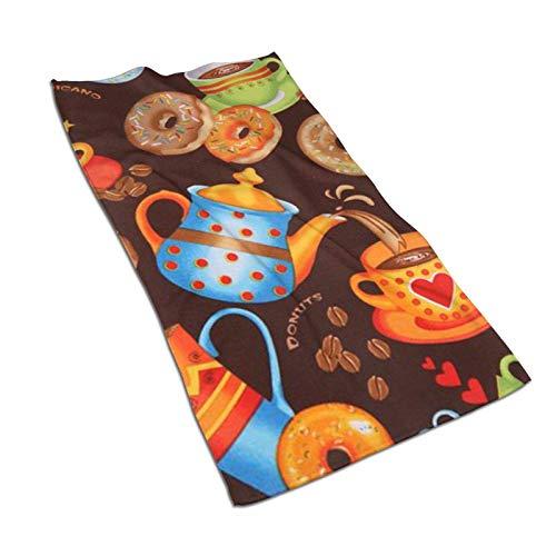 Hdadwy Toallas de cocina con diseño de rosquilla de café marrón, 17.5 x 27.5 pulgadas, toallas de microfibra de felpa para secar platos y secar los derrames, toallas de cocina para la decoración de su