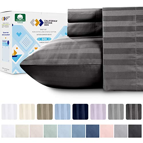 California Design Den High Thread Count King Sheets - 100% Extra Long Staple Combed Cotton, Dark Gray 4 Piece Bedding Set, 500 TC Sateen Weave Damask Stripes, Deep Pocket Fits Mattress 16 Inches