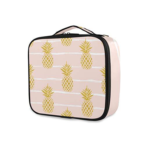 Stockage de voyage Sac à main de maquillage Sac à main Stripe Golden Pineapple Tools Cosmetic Train Case Trousse de toilette