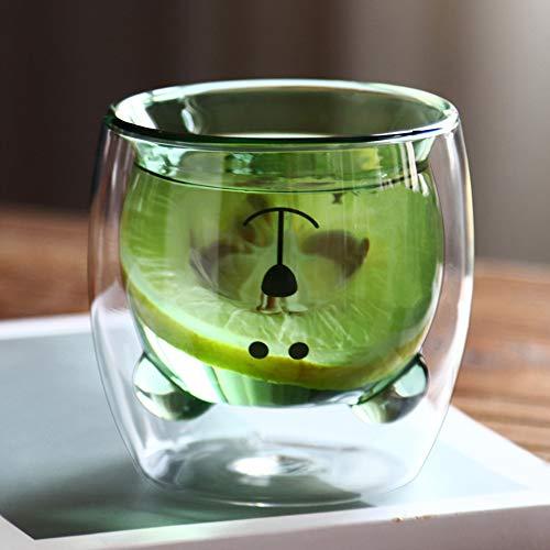Taza de café de doble capa, cristal 3D, diseño de oso, taza de cristal para niños, taza de café, vaso de agua, resistente al calor, taza de zumo, expreso, macchiato, taza de té, taza de café