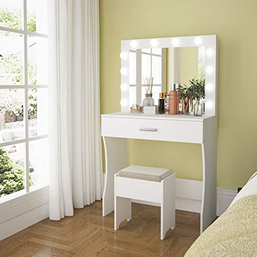 Vanity Table Set with Lighted Mirror, Makeup Table Vanity with Stool, Makeup Desk Bedroom Vanity Set Lots Storage Dressing Table White