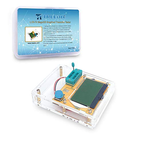 Treedix LCR-T4 Mega328 Graphical Transistor Tester Kit SCR ESR Transistor Diode Resistance and Capacitance Meters with Battery Buckle and Acrylic Case