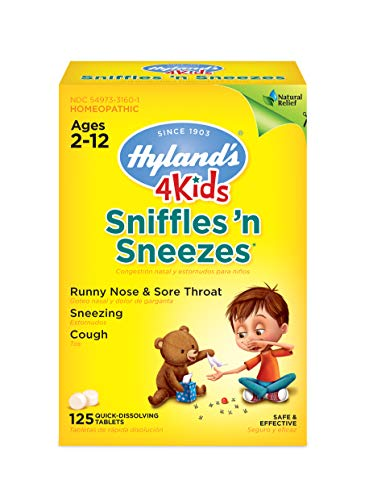 Zinc for Kids Ages 2+, Cold Medicine Tablets, Hyland's 4 Kids Sniffles n' Sneezes, Decongestant, Headache and Sinus Relief, Natural Treatment for Allergy and Common Cold Symptoms, 125 Count