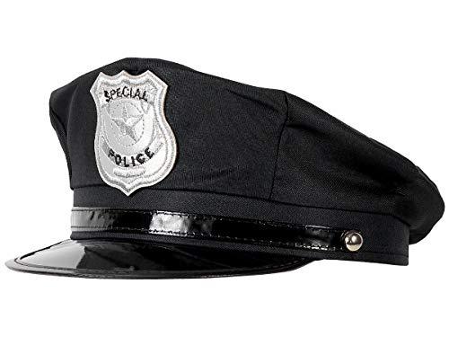 Alsino Polizeimütze Polizei Hut Cop Cap Kappe Erwachsene schwarz (174) Fasching Karneval Polizei-Kostüm - für Erwachsene, Innenumfang: bis 60 cm