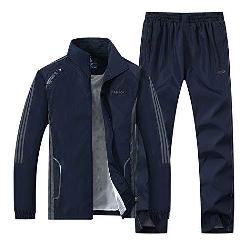Real Spark Men's Nylon Running Tracksuit Casual Jogging Sweatsuit Set with Mesh Lining Darkblue XL