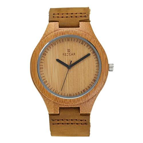 GLEMFOX Paar bamboe horloge natuurlijke houten klok Japanse kwarts analoog beweging heren en dames leder kwartshorloge retro casual stijl Small klein.