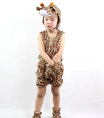 MATISSA Disfraces de animales para niños, sin mangas, para verano, fiesta, pijama, cosplay (M (para niños de 90 a 105 cm), jirafa)