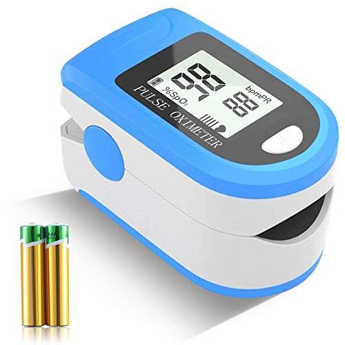 Monitor de saturación de oxígeno, pulsioxímetro de frecuencia cardíaca, dedo Sp02 Monitor de oxígeno en sangre Bajo consumo de energía Oxímetro portátil de alta precisión para niños adultos (Blue)