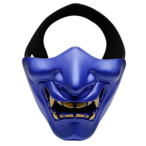Nrpfell Disfraz de Halloween Cosplay Caries Evil Demon Kabuki Samurai Half Cover Party Scary Decoration, Azul