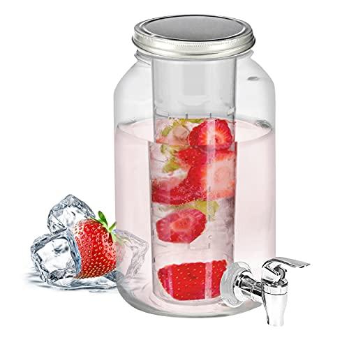 Getränkespender mit Kühleinsatz, Zapfhahn und Deckel - 3,5 Liter - Wasserspender Glasbehälter Karaffe mit Einsatz für Früchte Eiswürfel Kaltgetränke Wasser Limo Bowle Eistee