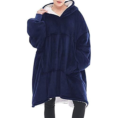 HSY SHOP Manta con Capucha, suéter de Sherpa de Gran tamaño, Manta portátil súper Suave y cálida, Adecuada para Adolescentes y Hombres, Mujeres (Color : Blue)