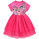 AmyStylish Little Girls A Line Scoop Neck Summer Breathable Casual Play-Wear Dress,LOL Doll-Fuchsia,7 to 8 Years