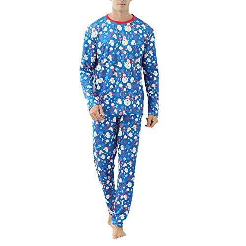 Matching Christmas Family Pajamas Set Blue Snowman Print Long Sleeve O-Neck T-Shirt+Trousers/Romper Sleepwear (Blue Men, Medium)