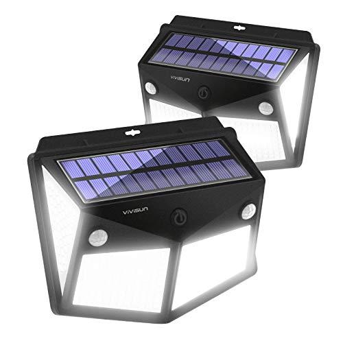 ViViSun 280LED Solarlampen für Außen, 300°Solar LED Strahler Außen, Solarleuchten für Außen 160°Solarlampen für Außen mit Bewegungsmelder, 2600mAh Solar Wandleuchte Aussen für Garten【2 Stück】
