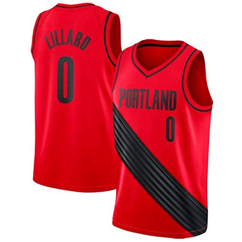 Herren Trikot Damian Lillard Portland Trail Blazers #0 Jersey Jugend Basketball Mesh Jersey, Sportswear Schnelltrocknen ärmellos Basketball Trikot Swingman Jersey (Rot-2, S(44))