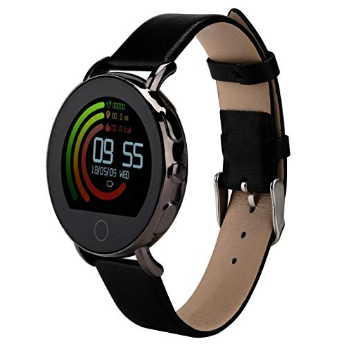 DAUERHAFT Herzfrequenzmesser Armband Smart Bracelet 0,96 Zoll Touchscreen Anruf, Nachrichtenerinnerung Einstellbares Kieselgel(Black Metal case + Leather Strap)