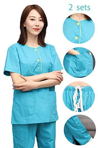 2 sets/medisch korte mouwen scrub set, top en trekkoord broek, tandheelkundige schoonheidssalon professionele ziekenhuis chirurgische werkkleding,L