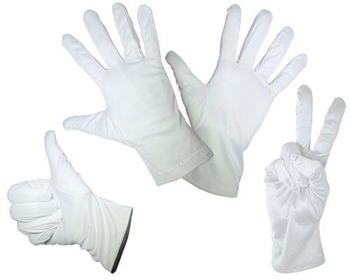 Schleiter & Jauernig 1 Paar feine Mikrofaser Handschuhe - Weiss - In den Größen: S M L XL - Zum Reinigen/Putzen, Verkleiden für Karneval - Handschuh für EIN Pantomime Kostüm gut geeignet (Medium)