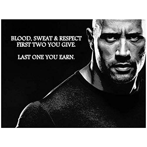 LYNN Rock Dwayne Johnson Bodybuilding Fitness Motivational Gym Painting Poster Art Poster Canvas Home Decor Wall Picture Print (40x60 cm frameless)